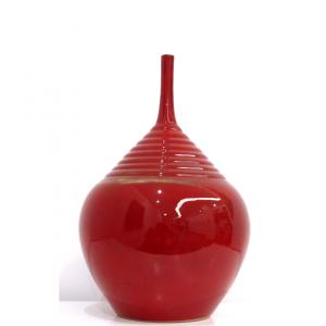 vaso bottiglia ceramica rosso